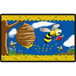 Look for Busy Bee Yellow/Blue Area Rug By Flagship Carpets