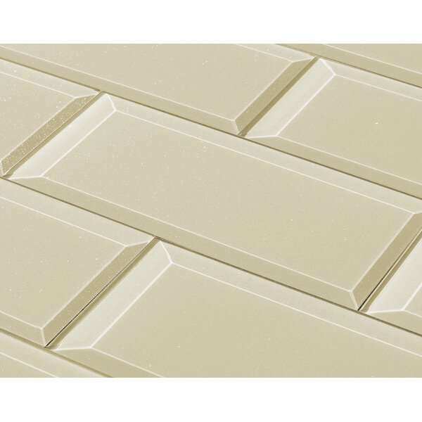 Frosted Elegance 3 x 12 Glass Subway Tile in Glossy Creme by Abolos