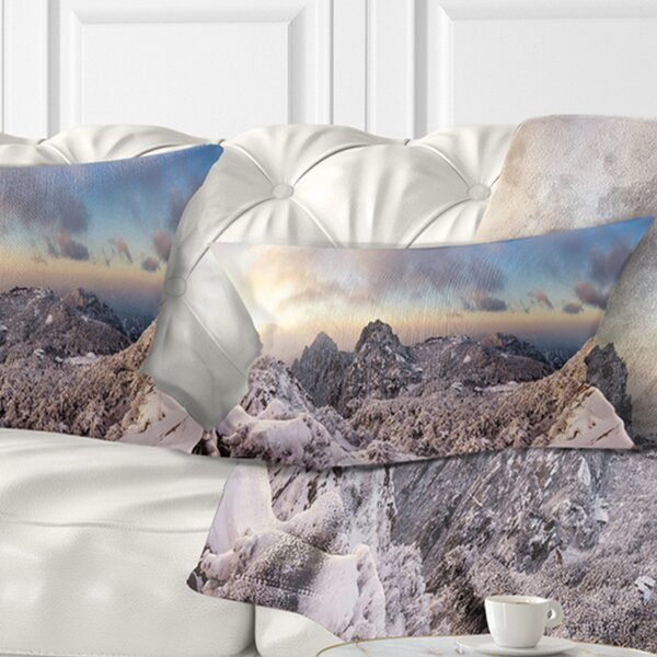 Landscape Wall Huangshan Hill Snow in Winter Lumbar Pillow by East Urban Home