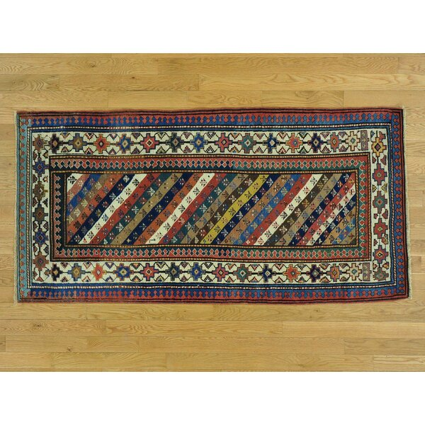 One-of-a-Kind Brandy Antique Caucasian Gendge Hand-Knotted Wool Area Rug by Isabelline