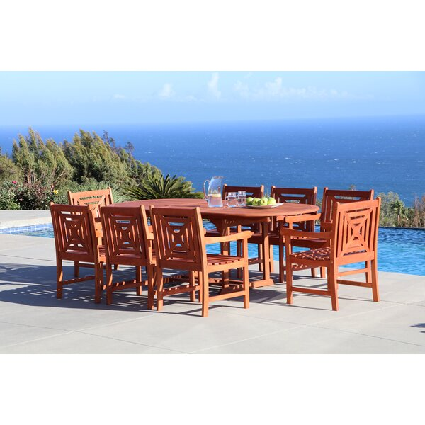 Monterry Extendable 9 Piece Wood Dining Set by Beachcrest Home