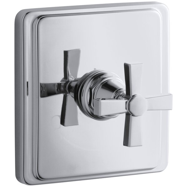 Pinstripe Valve Trim with Pure Design Cross Handle for Thermostatic Valve, Requires Valve by Kohler