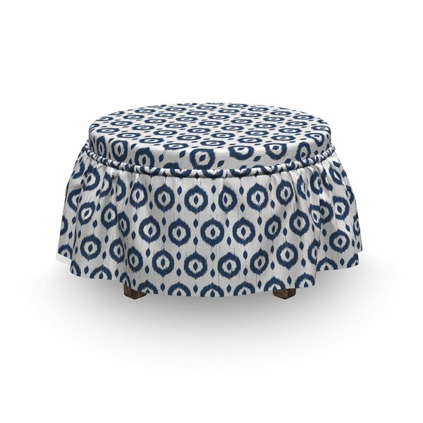 Ikat Traditional Circles Dots 2 Piece Box Cushion Ottoman Slipcover Set By East Urban Home