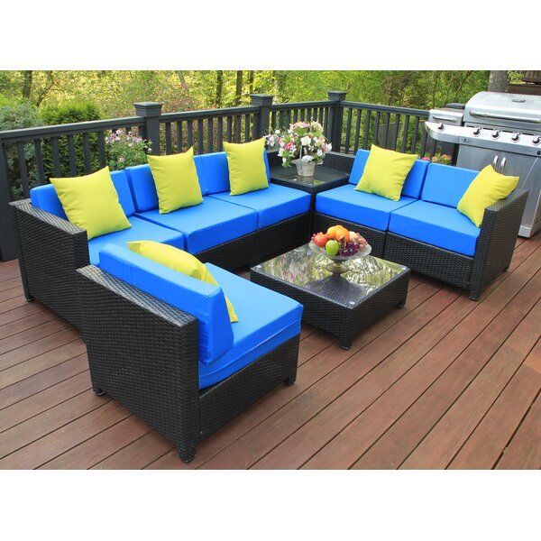 Mickel Garden Patio 8 Piece Rattan Sectional Seating Group with Cushions by Latitude Run
