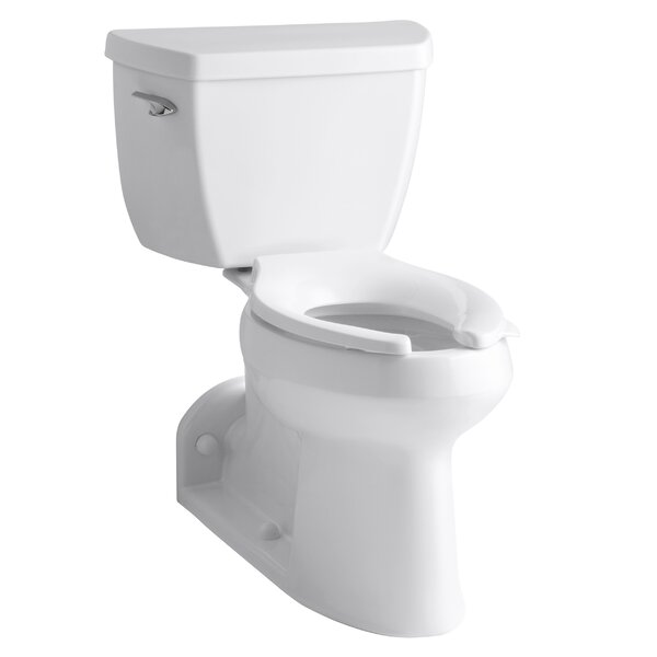 Barrington Comfort Height Two-Piece Elongated 1.0 GPF Toilet with Pressure Lite Flushing Technology and Left-Hand Trip Lever by Kohler