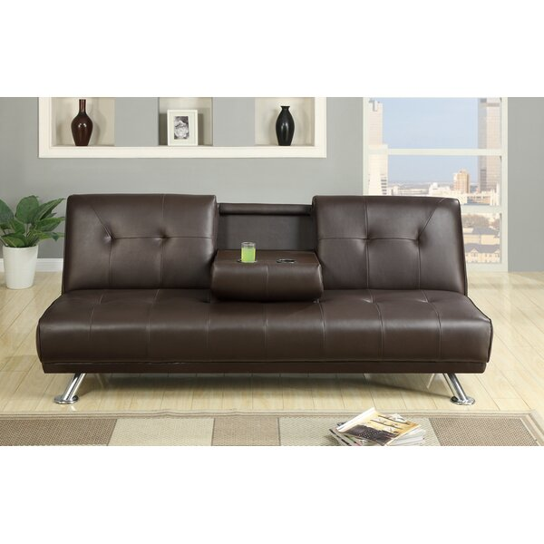 Lybarger Faux Leather Armless Adjustable Convertible Sofa with a Drop Down Console by Latitude Run