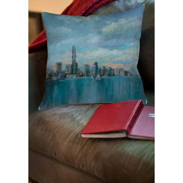 Manhattan Tower of Hope Printed Throw Pillow by Manual Woodworkers & Weavers