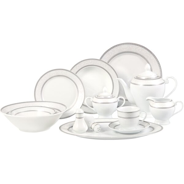 Sirena 57 Piece Dinnerware Set, Service for 8 by Lorren Home Trends