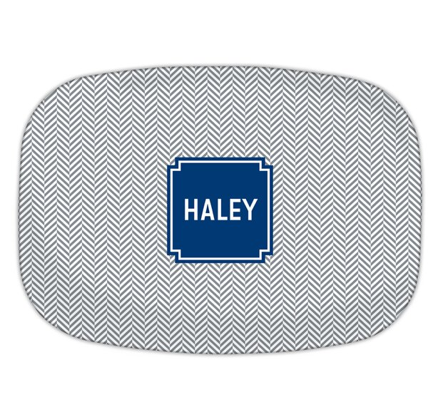 Herringbone Block Personalized Melamine Plate by Boatman Geller