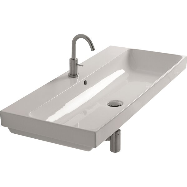 Normal Ceramic 40 Wall Mount Bathroom Sink with Overflow by WS Bath Collections