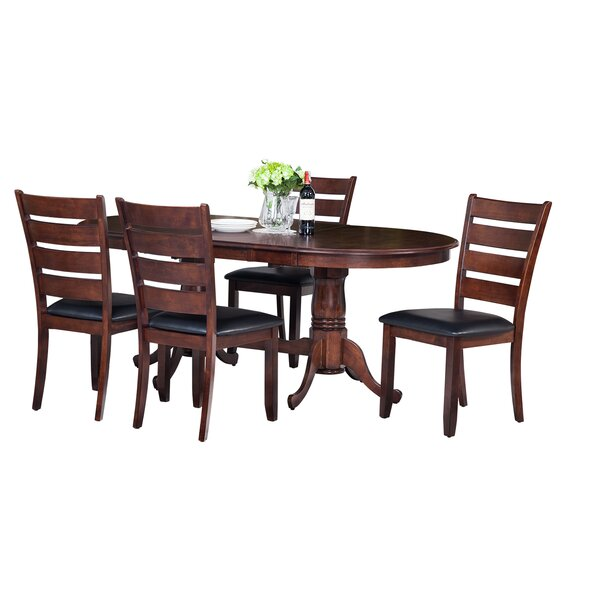 Doretha Traditional 5 Piece Solid Wood Dining Set with Curved Back Chair by Darby Home Co