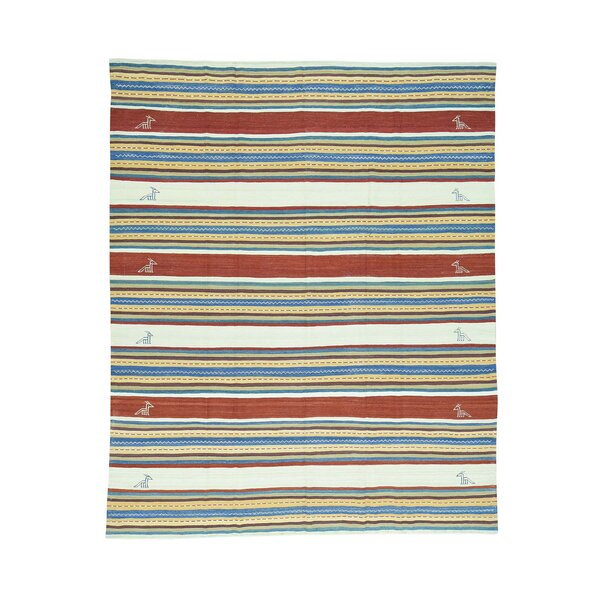 Durie Kilim Flat Weave Striped Hand-Knotted Denim Blue/Burgundy/Ivory Area Rug by Bloomsbury Market