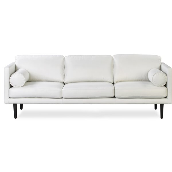 New High-quality Lunde Leather Sofa by George Oliver by George Oliver
