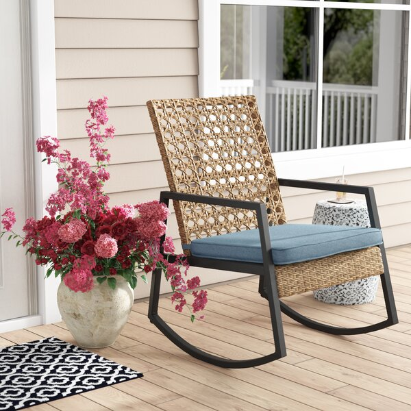Shifflett Modern Patio Rocking Chair With Cushions By Ivy Bronx by Ivy Bronx No Copoun