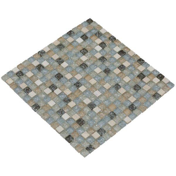 Mesh Pess 12 x 12 Glass/Stone Mosaic Tile in Light Gray/Tan by Mirrella