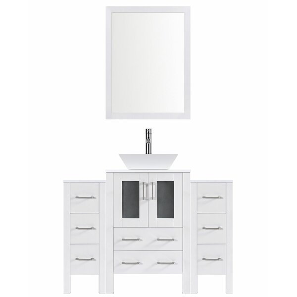 Modern 60 Single Bathroom Vanity Set with Mirror by LessCare