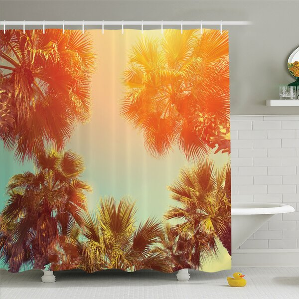 Palm Tree Trees Sunlights Tranquility in Tropical Nature Landscape at Summer Theme Shower Curtain Set by Ambesonne