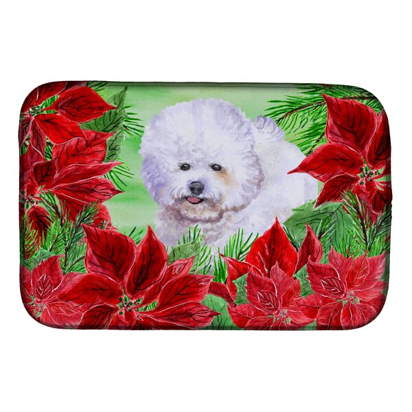 Bichon Frise Poinsettas Dish Drying Mat by Caroline's Treasures