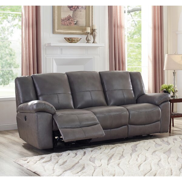 Yeldell Lay Flat Power Leather Reclining Sofa