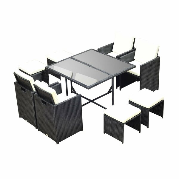 Gerrish 9 Piece Dining Set with Cushions by Ebern Designs