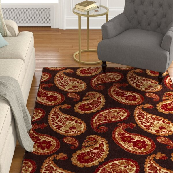 Sisson Warm Chocolate Brown/Ivory Area Rug by Alcott Hill