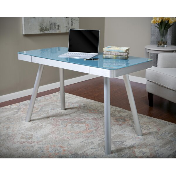 Zeller Glass Writing Desk by Latitude Run