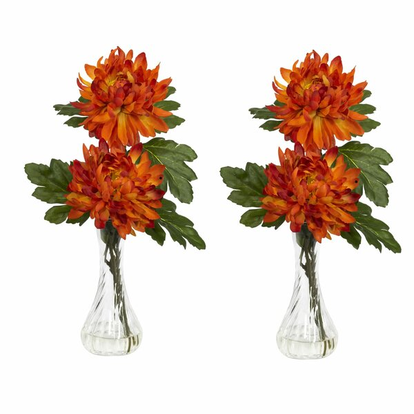 Mum with Bud Vase Silk Flower Arrangement (Set of 2) by Nearly Natural