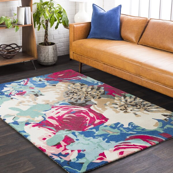 Axelle Floral Hand Tufted Wool Pink/Rose Area Rug by Ebern Designs
