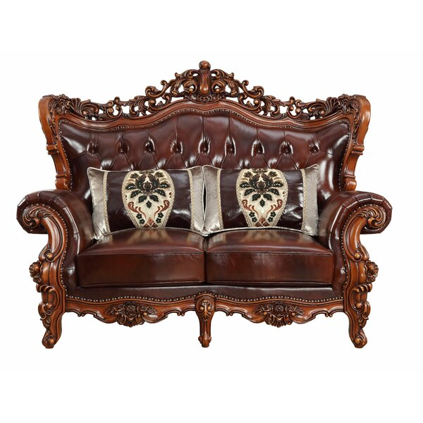 Misael Leather Loveseat by Astoria Grand