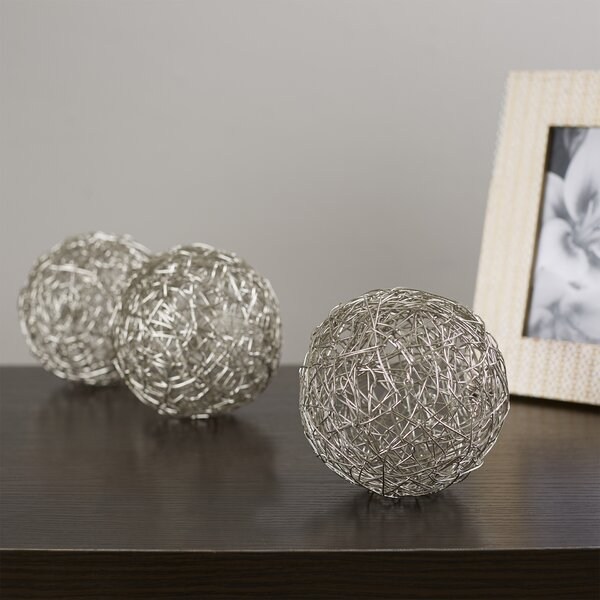 Clough Wire Ball Sculpture Set (Set of 3) by Mercury Row