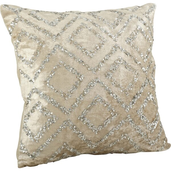 Glittery Velvet Sequined Cotton Throw Pillow by Saro