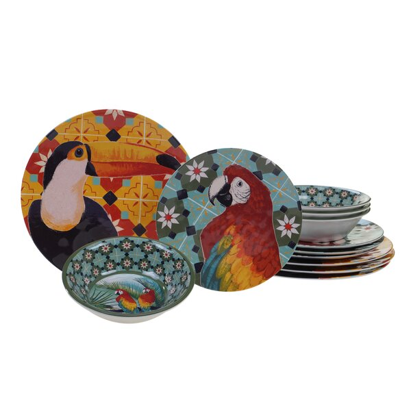 Woodhill 12 Piece Melamine Dinnerware Set, Service for 4 by Bay Isle Home
