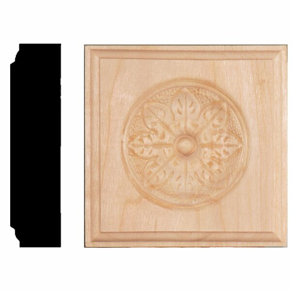 7/8 in. x 3-1/2 in. x 3-1/2 in. Hardwood Flower Rosette Block Moulding by Manor House