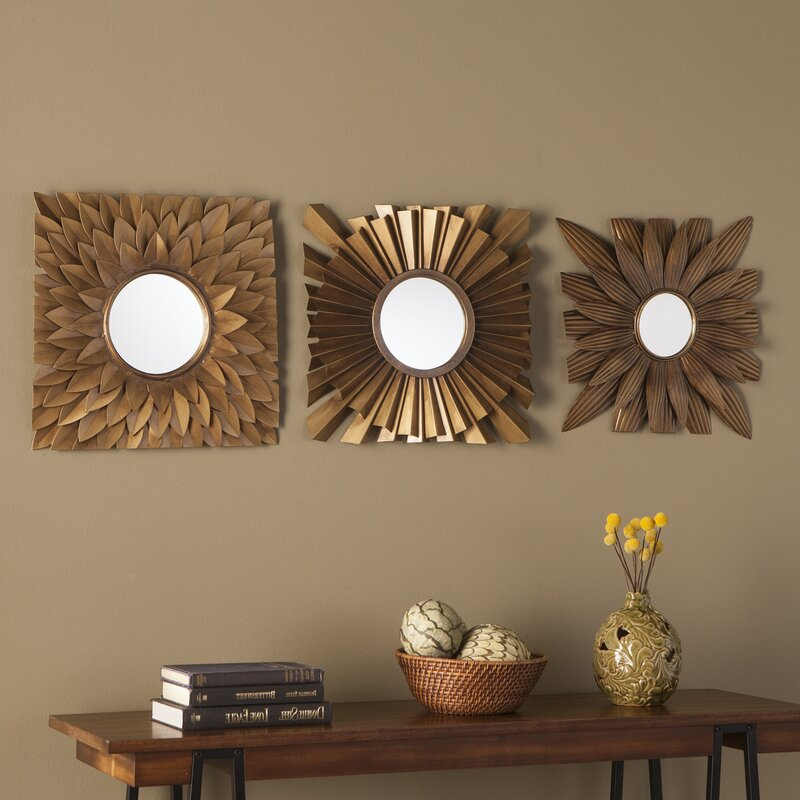 3 piece antique gold decorative mirror set reviews for Antique decoration pieces