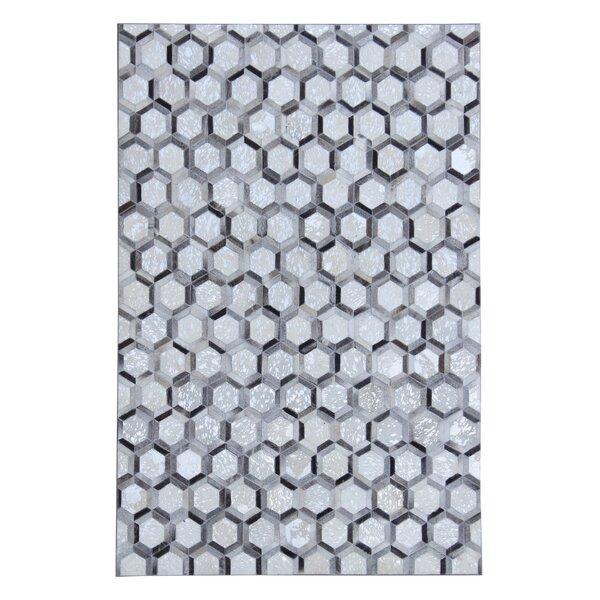 Jamarcus Hand Woven Cowhide Silver/Gray Area Rug by Brayden Studio