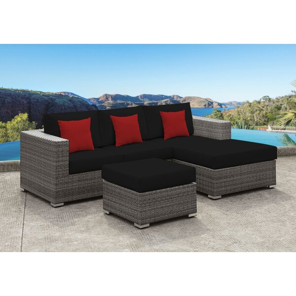 Yeager 3 Piece Rattan Sectional Set with Cushion by Orren Ellis