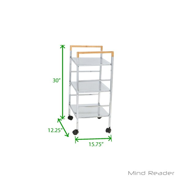 3 Tier Mobile Metal Top Kitchen Cart by Mind Reader