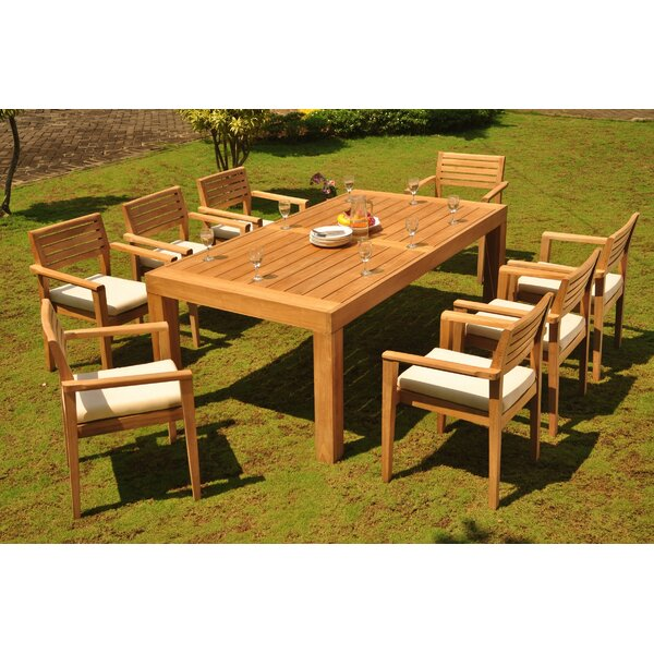Trever 9 Piece Teak Dining Set by Rosecliff Heights