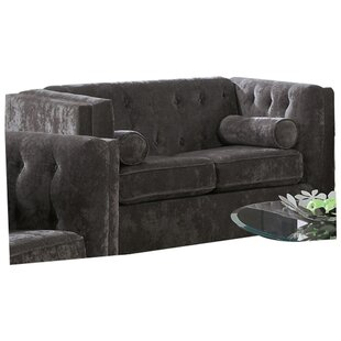 Dalila Chesterfield Wood Frame Loveseat