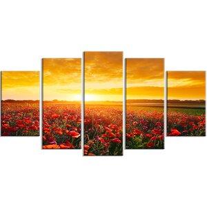 'Poppy Field under Ablaze Sunset' Photographic Print Multi-Piece Image on Canvas by Design Art
