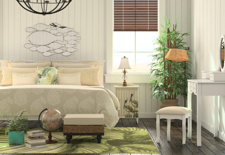 Beachcrest Home Gotha 3 Light Vanity Light Reviews: Beachcrest Home Zeke Wood Makeup Vanity Set With Mirror