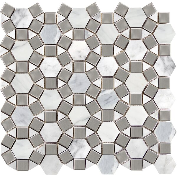Winter Gem 12 x 13 Marble Mosaic Tile in Frost by Emser Tile