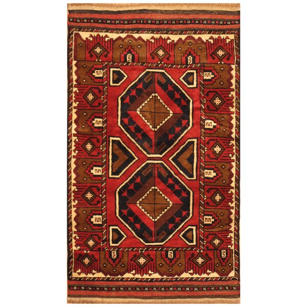 One-of-a-Kind Prentice Hand-Knotted Wool Red/Brown Area Rug by Isabelline