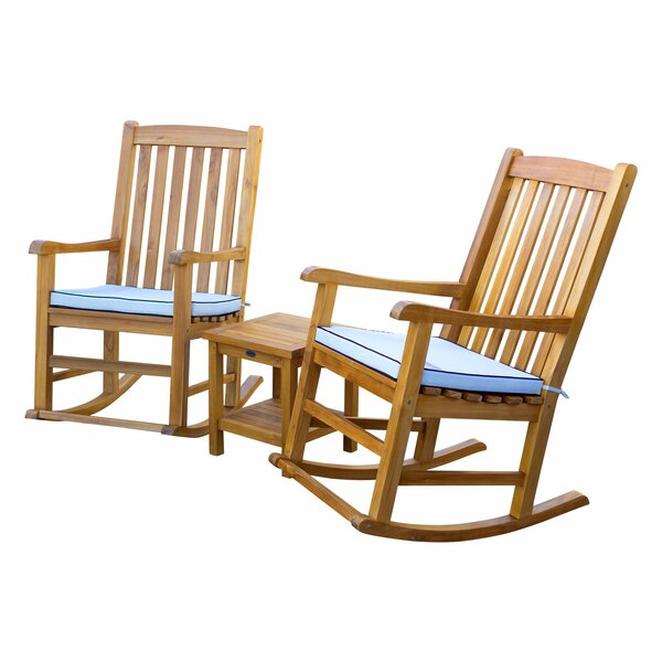 Stgermain 3 Piece Teak Sunbrella Seating Group with Cushions by Highland Dunes