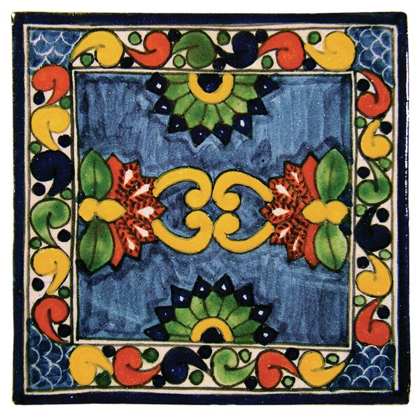 4 x 4 Asters Hand Painted Talavera Tile by Native