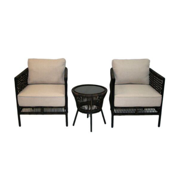 Quirion 3 Piece Seating Group with Cushions by Wrought Studio Wrought Studio