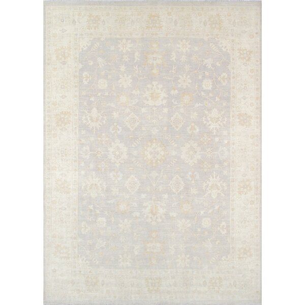 Oushak Hand-Knotted Gray/Ivory Area Rug by Pasargad