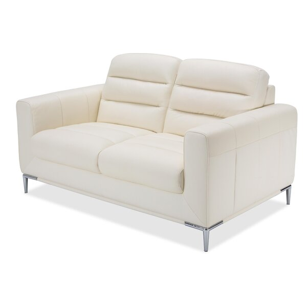 Mia Bella Elena Leather Loveseat by Michael Amini