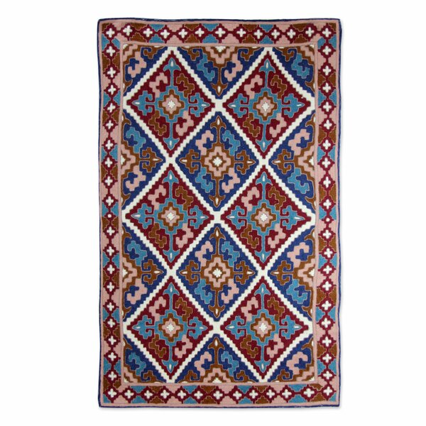 Raseborg Diamond Sky Hand-Woven Wool Brown/Blue Area Rug by Bloomsbury Market