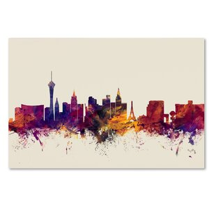 'Las Vegas Nevada Skyline' Rectangle Framed Graphic Art on Wrapped Canvas by Ivy Bronx